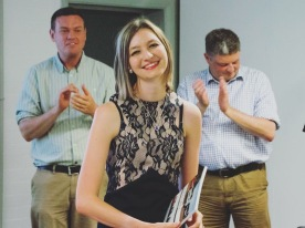 Sophie presents a speech at her Book Launch in 2016
