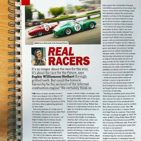 Sophie's Choice column - Real Racers - in Historic Racing Technology Magazine